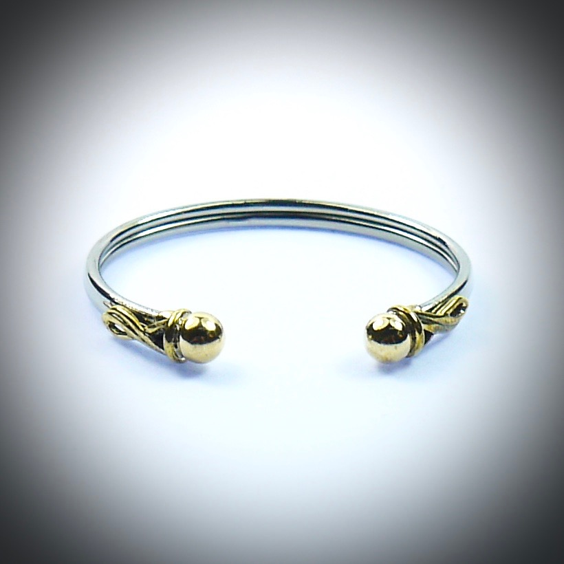 6329fd17e Braclets & Bangles : Sterling silver and 9ct Gold Baby Torque Bangle ...